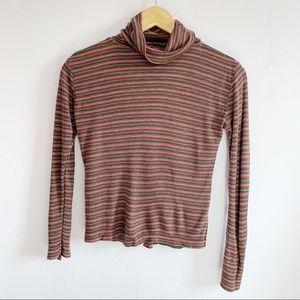 Vintage 70s Striped Turtleneck Tee Shirt Size M